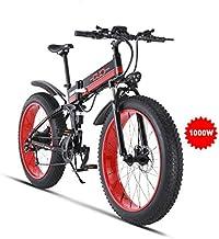 GUNAI Bicicleta de Montaña Eléctrica,350W/500W/1000W Ebike Plegable Sistema de Transmisión de 21 Velocidades con Batería Extraíble y Pantalla LCD