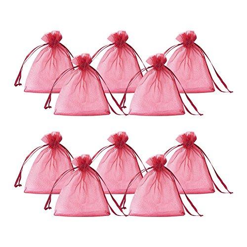 PandaHall 100pcs 10x12cm Rosso Sacchetti Coulisse Organza sacchettini portariso portaconfetti bomboniere per Matrimonio Compleanno Battesimo Comunione Nascita Natale