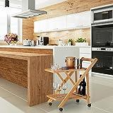 Relaxdays Küchenwagen Bambus, Servierwagen klappbar mit Flaschenhalter, Rollwagen Holz, HxBxT: 70 x 40,5 x 65 cm, natur - 2