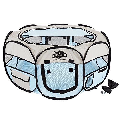 """PETMAKER Portable Pop Up Pet Play Pen with Carrying Bag, 33"""" x 15.5"""", Blue, Medium"""