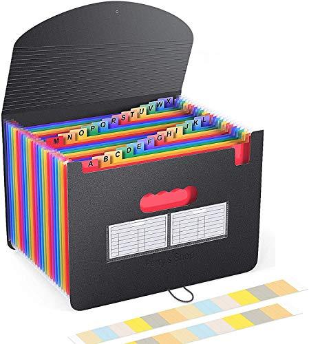 Expanding File Folder 24 Pockets Portable Accordion File Organizer with Expandable Cover Letter Size Desktop Plastic Folders Colored Paper Document Paperwork Receipt Organizer