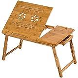 TecTake Table de lit Pliable pour PC Portable Notebook iPad Tablet en Bambou - diverses modèles - (55x35cm avec tiroir | no. 401653)