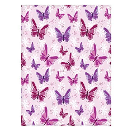 Ormis Pink and Purple Butterflies Pattern Super Bed/Sofa Soft Throw Blanket 58x80inch (Large)
