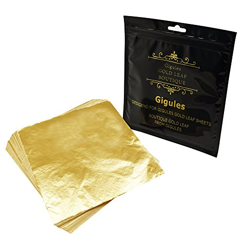 Gigules 100 Sheets Imitation Gold Leaf 5.5 x 5.5 inches Gold Foil Paper for Arts Painting Gilding Crafting Decoration