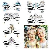6Pcs Carnaval Pegatina Facial Cristales Adhesivo Tatuaje Festival Música, Fiesta Mujere,...