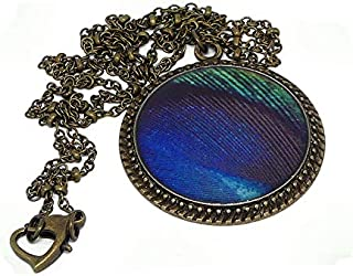 Collana in resina Peacock piuma verde blu nero ottone bronzo catena palla chiusura cuore 32mm regalo personalizzato noel a...