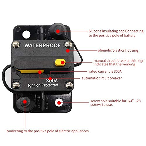 ANJOSHI 300Amp Circuit Breaker 30A-300A with Manual Reset Switch Waterproof Fuse Holder Inline Fuse Breaker for Trolling Motor Auto Car Marine Boat Bike Stereo Audio System Protection