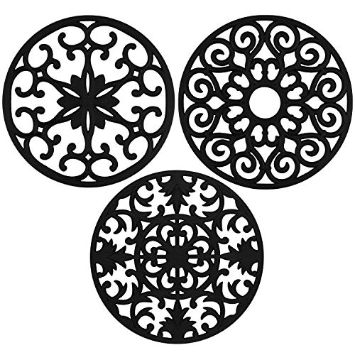 gasaré, Extra Large, Extra Thick, Silicone Trivets, Trivet Mat, Heat Resistant, Non-Slip, Dishwasher Safe, Round Design, for Hot Dishes and Kitchen Countertops, 10 x 3/8 inches, Set of 3, Black