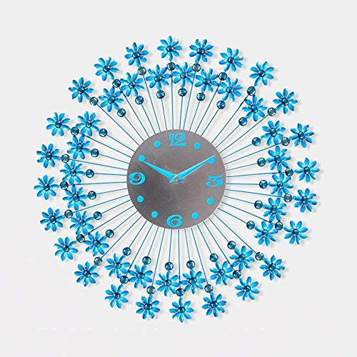 Reloj de pared para sala de estar, reloj de pared creativo, minimalista, reloj de pared europeo, silencioso, reloj de pared redondo, reloj de personalidad (color: azul)-azul