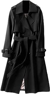 Women Double Breasted Mid-Long Trench Coat Belt Windbreaker Outerwear