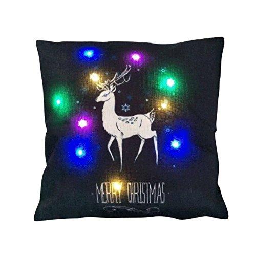 Emmala Led Glänzende Frohe Weihnachten Serie Casual Chic Dekorative Leinen Sofa Dekokissen Mit Reißverschluss Kissenbezug 18X18 Zoll,Sekt Baum (Color : #2, Size : Size)