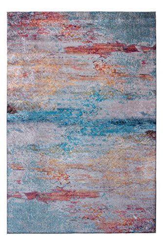 Mylife Rugs Contemporary Modern Non Slip Machine Washable Printed Area Rug, Rainbow 4'x6'