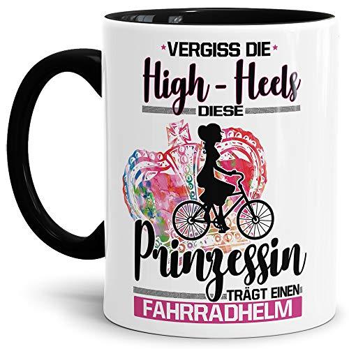 Tassendruck Sport-Tasse Diese Prinzessin trägt einen Fahrradhelm Mug/Cup/Geschenk-Idee/Witzig/mit Spruch/Innen & Henkel Schwarz