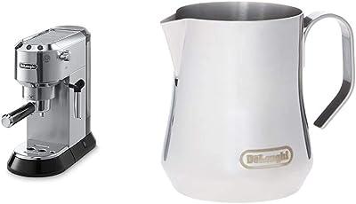 Delonghi EC680M DEDICA 15-Bar Pump Espresso Machine, Stainless Steel and De'Longhi DLSC060 Milk Frothing Jug, 12 oz, Stainless Steel