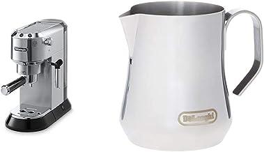 Delonghi EC680M DEDICA 15-Bar Pump Espresso Machine, Stainless Steel and De'Longhi DLSC060 Milk Frothing Jug, 12 oz, Stain...