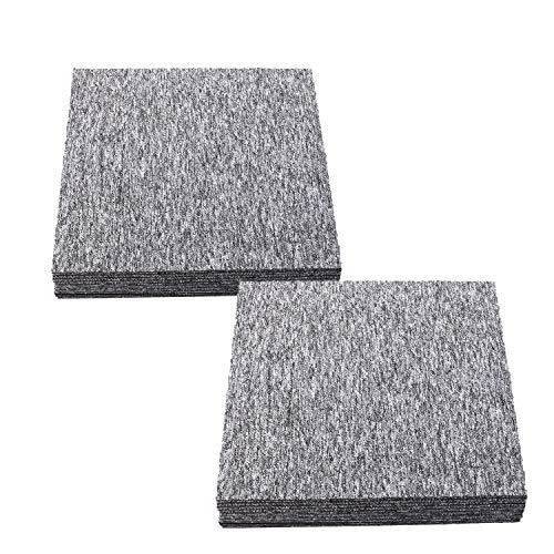uyoyous 20 unidades de baldosas de alfombra autoportantes 50 x 50 cm, resistentes, con parche adhesivo para todas las áreas, hogar, oficina, dormitorio, antideslizante, gris claro, 5 ㎡