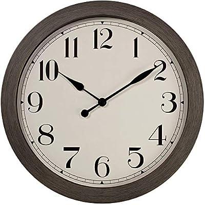 """PresenTime & Co 11.5"""" Farmhouse Series Retro Round Decorative Wall Clock, Quartz Movement, Battery Operated, Grey Oak Finish"""