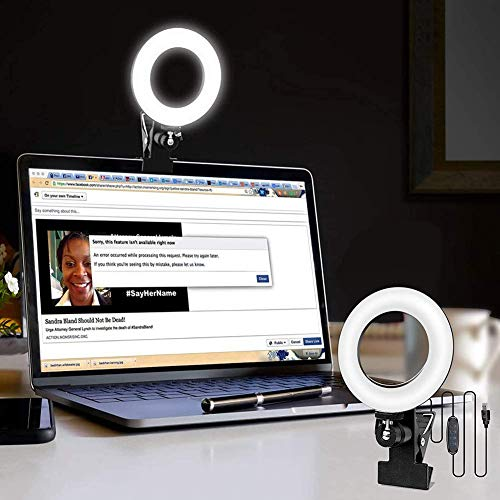 Video Conference Lighting Kit Dimmable Led Ring Lights Clip on Laptop Monitor Zoom Lighting for Computer MacBook Lamp for Remote Working/Self Broadcasting/Live Streaming/Learning