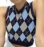 Womens Sweater Vests Argyle Plaid Crop Sweaters V Neck Sleeveless Preppy Style Tank Tops Blue Medium