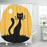 GABRI Duschvorhang Orange Katze Halloween Rot Schwarz Fledermaus Silhouette Augen Scary Cute Flying Hook Set Vorhänge