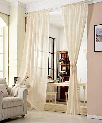 WOLTU® VH5859sd, Gardinen transparent mit Kräuselband Leinen Optik, Vorhang Stores Voile Fensterschal Dekoschal für Wohnzimmer Kinderzimmer Schlafzimmer, 140x245 cm, Sand, (1 Stück)