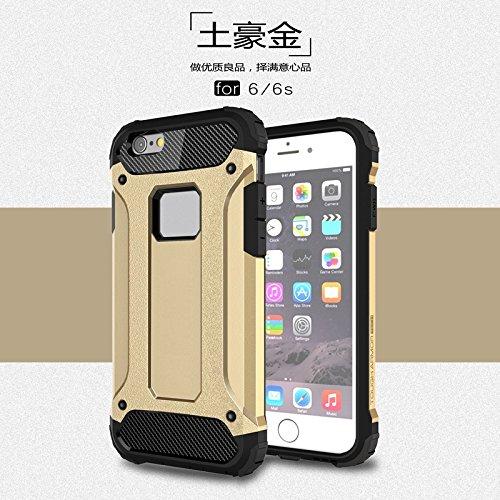 liyuzhu Caso de iPhone 6 / 6S, Armadura Hybrid Hybrid de Trabajo Pesado Dual Estilo Duro PC + TPU Cubierta Protectora Protectora para iPhone 6 / 6s (Color : Gold)