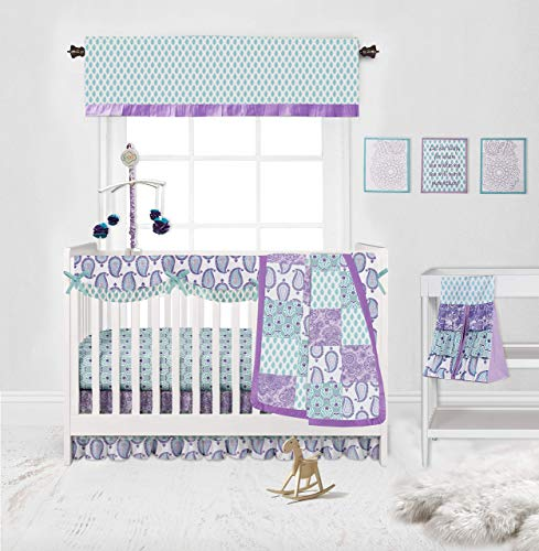Bacati - Sophia Paisley 10 Pc Girls Crib Baby Bedding Set Including Crib Rail Guard 100 Percent Cotton for US Standard Cribs (Lilac/Purple/Aqua)