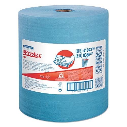 WypAll 41043 X80 Cloths with HYDROKNIT, Jumbo Roll, 12 1/2 x 13 2/5, Blue, 475/Roll