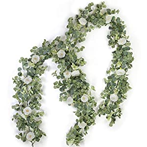 ZIFTY 2-Pack Artificial Eucalyptus Garland with Flowers
