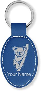 Oval Keychain, Koala Bear, Personalized Engraving Included (Dark Blue)