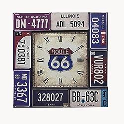Retro Iron License plate wall clock Creative Quartz clock decoration Wall clock bedroom Mute Pocket watch Crafts