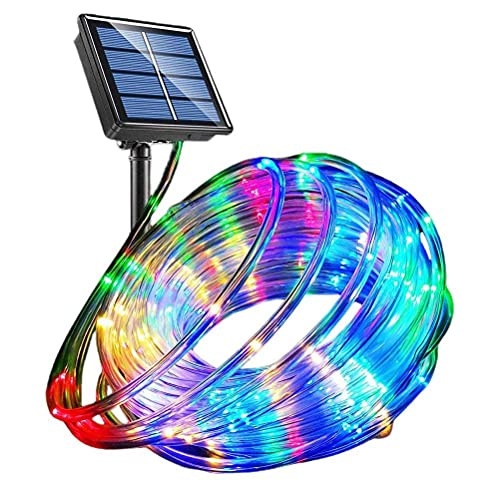BTOSEP Solar String Lights Outdoor,LED Rope Lights 40Ft 100 LEDs Solar Powered String Lights 8 Modes Color Changing Tube Light Waterproof Strip Fairy Lights