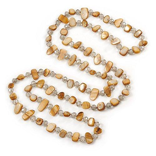 Avalaya Long Sandy Brown Shell Nugget e Collana di Perline di Cristallo Vetro Trasparente–118cm l