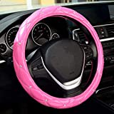 LABBYWAY Diamond Leather Steering Wheel Cover, with Bling Bling Crystal Rhinestones for Women Girls, Universal 15 Inch Pink