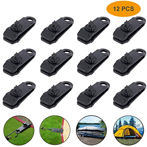 12pcs Tarp Canvas Clips Heavy Duty Lock Grip Clamps Thumb Screw Tent Clip Awning Clamp Set Jaw Tent Snaps Tarps Canopies and Covers Locking Clamp Design for Outdoors Camping Farming Garden Tarps