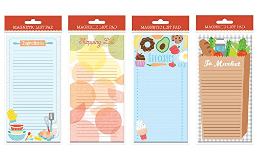"""Set of 4 Magnetic List Pads, 3.75"""" x 8.125"""" Grocery Shopping List Pads, Shopping List Magnetic Steno Pad"""