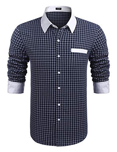 COOFANDY Herren Hemd Langarm Regular Fit Freizeit Business Hemden Kragen Plaid Spleißen Hemden für Männer