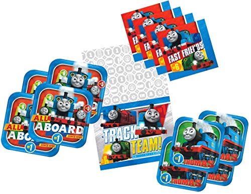 Thomas The Train Birthday Party Supplies for 16 Guests - Includes 16 Dinner Plates, 16 Dessert Plates, 16 Dinner Napkins, and 1 Tablecover, Bundle