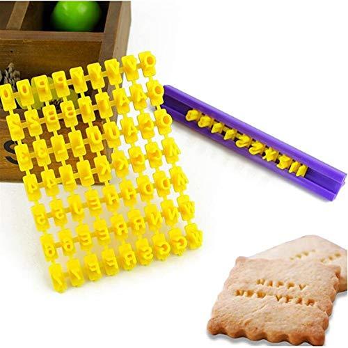 JYSLI Santé Mini-numéro et la Lettre de Bricolage Cookie Stamp Fondant au Chocolat Biscuit Mold gaufrée Conception (Color : Yellow)