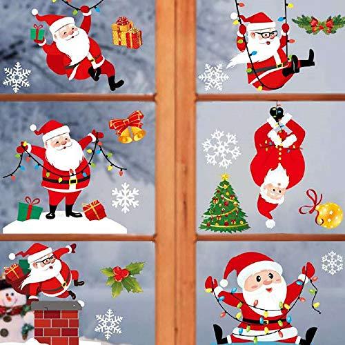 Kapsi Fensterdeko 122 Weihnachtsmann Fensterbilder Statisch Haftende PVC Aufkleber für Schaufenster Winter Dekoration (Weihnachtsmann)