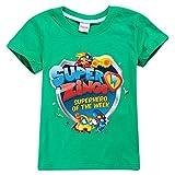 Superzings Camiseta Ropa de Cuello Redondo del Verano de los niños de Manga Corta impresión Camiseta de la Moda niños y niñas (Color : Green01, Size : Height-90cm(Tag 90))