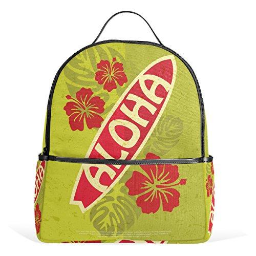 COOSUN - Mochila Escolar Retro de Surf Aloha de Lona Ligera para niños y niñas