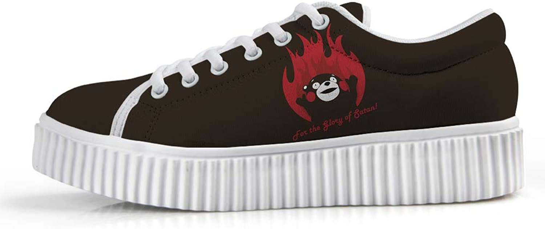 Owaheson Platform Lace up Sneaker Casual Chunky Walking shoes Low Top Women Evil Kumamoto Bear Kumamon Call Satan