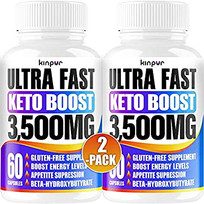 Powerful Keto Pills - Best Diet Pills for Metabolism, Energy, and Brain Support That Work for Men & Women - 2-Pack - Keto BHB 120 Capsules - Effective Keto Supplement for Ketosis