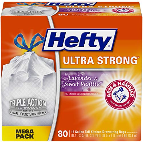Hefty 10013700016605 Ultra Strong Tall Kitchen Trash Bags-Lavender Sweet Vanilla, 13 Gallon, 80 Count, (Pack of 1), White