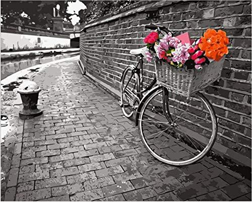 Pintar por números para Adultos Bicicleta y flores DIY kit de pintura al óleo para niños principiantes lienzo preimpreso de 40 x 50 cm con pinceles y pigmento acrílico Sin Marco