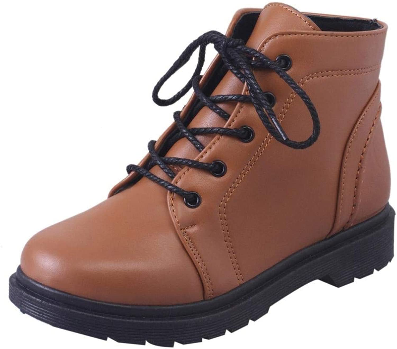 JaHGDU Fashion Winter Student Thick Heel shoes Martin Boots Fashion Leisure Elegant Soft Wild Tight Super Quality Black Brown for Womens