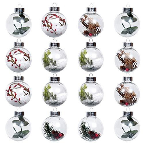 Valery Madelyn Weihnachtskugeln 16 TLG. 8cm Christbaumkugeln aus klarem Plastik befüllbare weihnachtskugeln zum füllen...