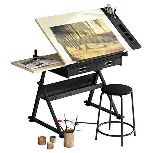 BOPP Stół kreślarski dla artystów, kreślarski stół biurko z szufladami, tacą i stołkiem, profesjonalne biurko do rysowania, stacja robocza rzemiosła artystycznego regulowany kąt wysokości dla artystów i architektury