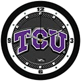 SunTime Texas Christian Horned Frogs - Carbon Fiber Textured Wall Clock